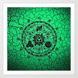Green Circle Of Triangle Art Print