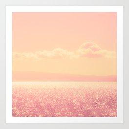 Dreamy Champagne Pink Sparkling Ocean Art Print