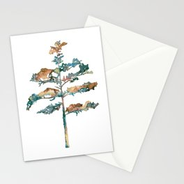 Pine Tree #2 in pink and blue - Ink painting Stationery Cards