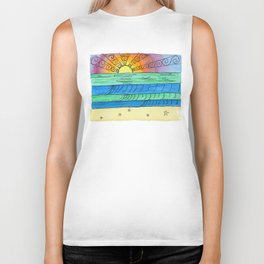 Stitched Watercolour Rainbow Sunset Biker Tank