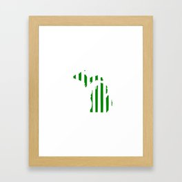 Green and White Michigan Framed Art Print
