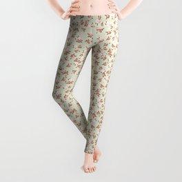 Shabby Chic Roses on Green Leggings