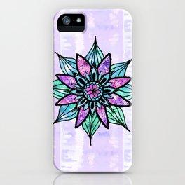 Hand Drawn Watercolor Flower on Purple Tie Dye iPhone Case