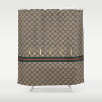 gucci Shower Curtains featuring Gucci Class by Goldflakes
