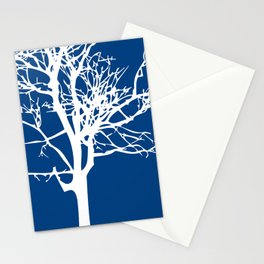 tree blue and white Stationery Cards