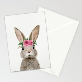 Baby Rabbit with Flower Crown Stationery Cards