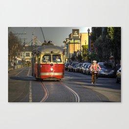 Street Car v Bike  Canvas Print