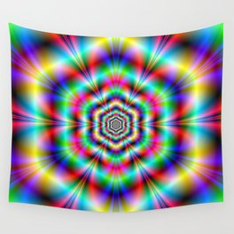 Psychedelic Hexagon Rings Wall Tapestry