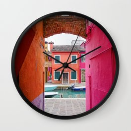 Colorful house in Burano. Venice, Italy Wall Clock