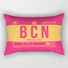 Baggage Tag B - BCN Barcelona El Prat Spain Rectangular Pillow