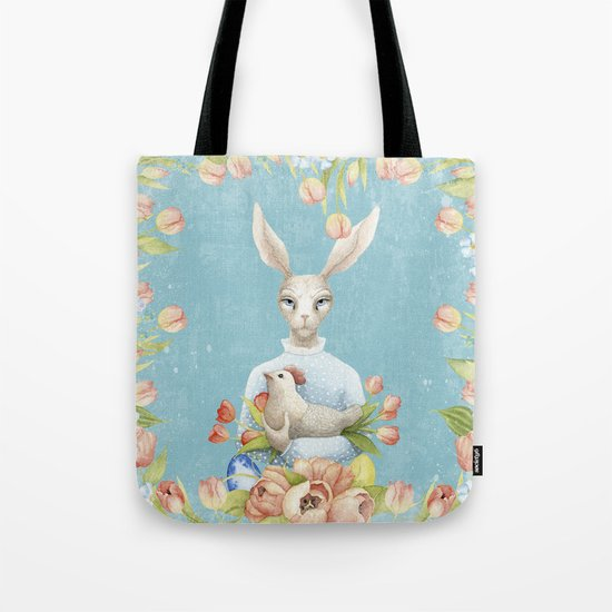 Beautiful Floral Flowers Female Animal Easter Bunny  on #Society6 Tote Bag