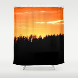 Black Forest Silhouette In Orange Sunset #decor #society6 Shower Curtain