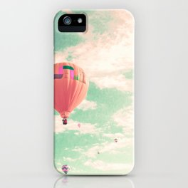 Pink nursery hot air balloons iPhone Case