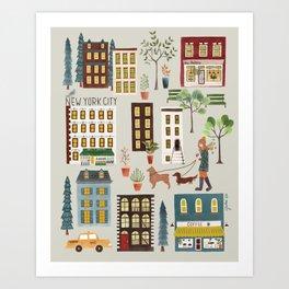 NYC Brownstones Art Print