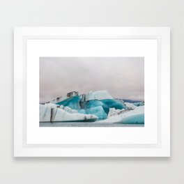 Iceberg in the glacial lagoon in Iceland - landscape photography Framed Art Print