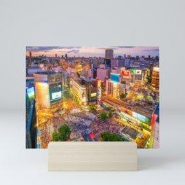 Shibuya Crossing from top view at twilight in Tokyo, Japan Mini Art Print