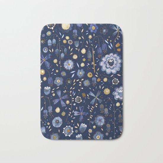 Indigo Flowers at Midnight Bath Mat