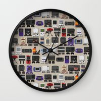 gamer Wall Clocks featuring Gamer by James Brunner