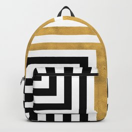 Simple Geometric Cross Pattern - White Gold on Black - Mix & Match with Simplicity of life Backpack