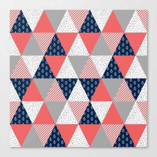 Quilt nautical navy and white modern trendy basic pattern print nursery pattern Canvas Print