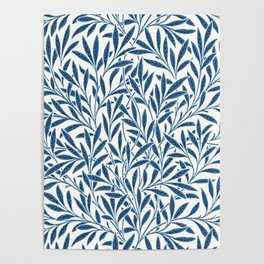 William Morris Navy Blue Botanical Pattern 9 Poster