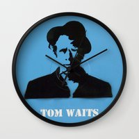 tom waits Wall Clocks featuring Tom Waits Record Painting by All Surfaces Design