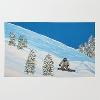 snowboarding Area & Throw Rugs featuring Snowboarding by N_T_STEELART