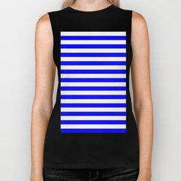 Narrow Horizontal Stripes - White and Blue Biker Tank