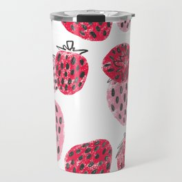 Sweet Pink and Red Textured Strawberries Travel Mug