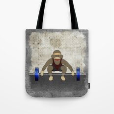 Sock Monkey Bodybuilder Tote Bag