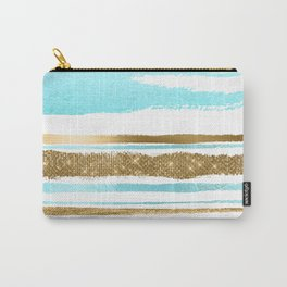 Turquoise Gold Stripes Carry-All Pouch