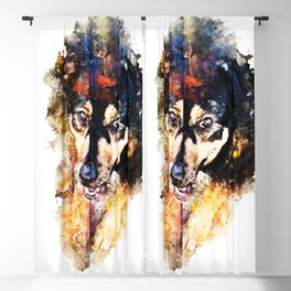 dog 3 splatter watercolor Blackout Curtain
