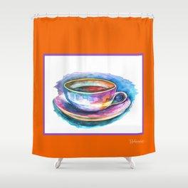 Coffee Rainbow Orange Shower Curtain