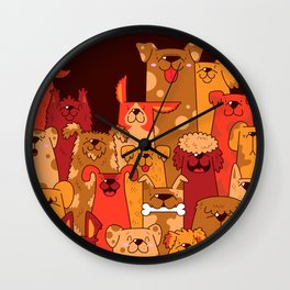 Pile of Woofs Wall Clock