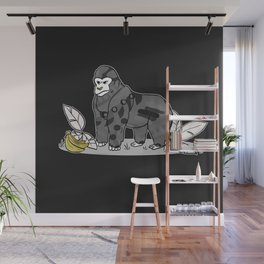 Gorilla & Bananas,Funny Wild Animal Graphic,Black & White with Brass Gold Metallic Accent Cartoon Wall Mural