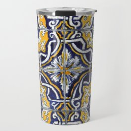 Ornate Blue, Yellow and White Portuguese Tile Travel Mug