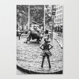 Fearless Girl & Charging Bull in the rain Canvas Print