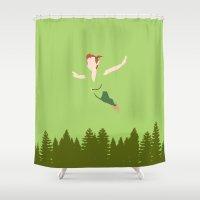 peter pan Shower Curtains featuring PETER PAN by kattie flynn