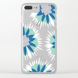 Big flower turquoise & dark blue Clear iPhone Case