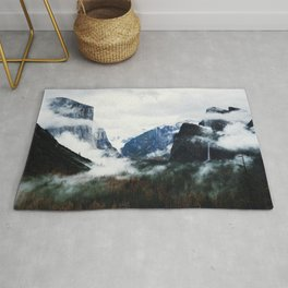 Cloudy Forest Great Outdoors Mountains Photography Rug