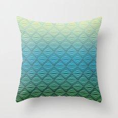 Warp Field (Blue Yellow Green) Throw Pillow
