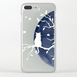 Blue moon | Dark moon | Cat on tree branch | Witchy cat | Wicca Clear iPhone Case