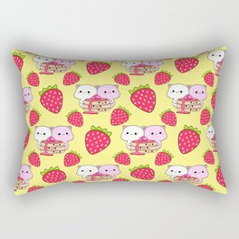 Cute sweet adorable yummy Kawaii pancakes with raspberry syrup, little funny cats and red ripe summer strawberries cartoon light pastel sunny yellow pattern design Rectangular Pillow
