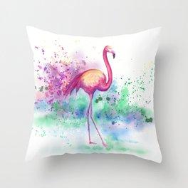 Messy Flamingo Throw Pillow