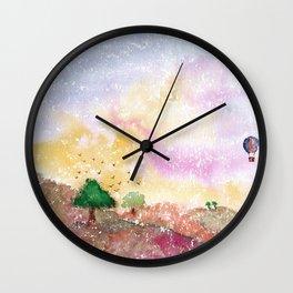 Mystical Landscape Watercolor. Wall Clock