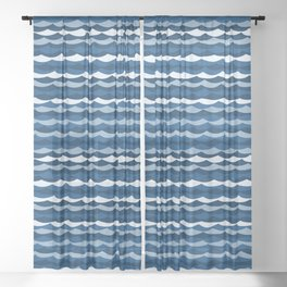 Classic Blue Wave Pattern Sheer Curtain