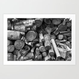 black and white photography firewood stacked nature Art Print