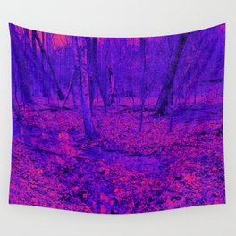 wet woods, red & blue Wall Tapestry