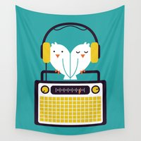 radio Wall Tapestries featuring Radio Mode Love by Picomodi