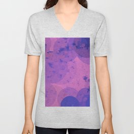 geometric circle and square pattern abstract in pink purple Unisex V-Neck